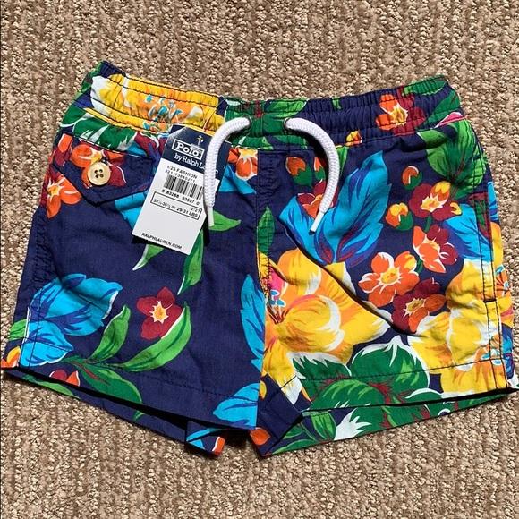 Polo Ralph Lauren Boys Swim Trunks Briefs Shorts Navy Shark Size 5 NWT!